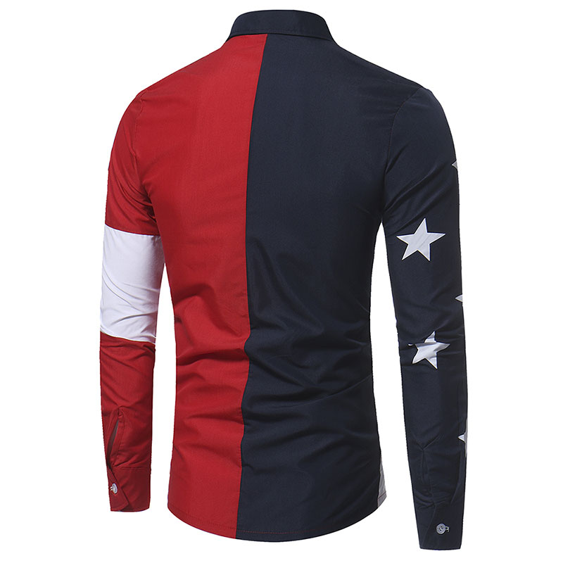 Patroon Vlag Heren Usa Patchwork Amerikaanse Shirts Kleding Merk knOP0w