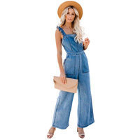 Women Sleeveless Straps Denim Jumpsuit 2019 Summer Pockets High Waist Wide Leg Overalls Loose Casual Solid Long Rompers