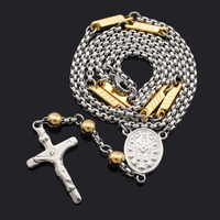 Fashion New Link Chain Stainless Steel Cross Rosary Necklace Men Women Jewelry Top Quality Classic Religious