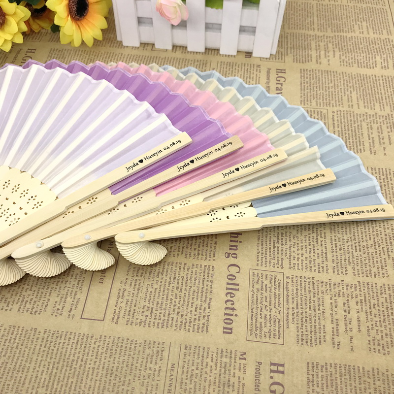 80pcs lot FREE SHIPPING Personalized Bamboo Fan Wedding Gift Customize Logo Folding Hand made Fan