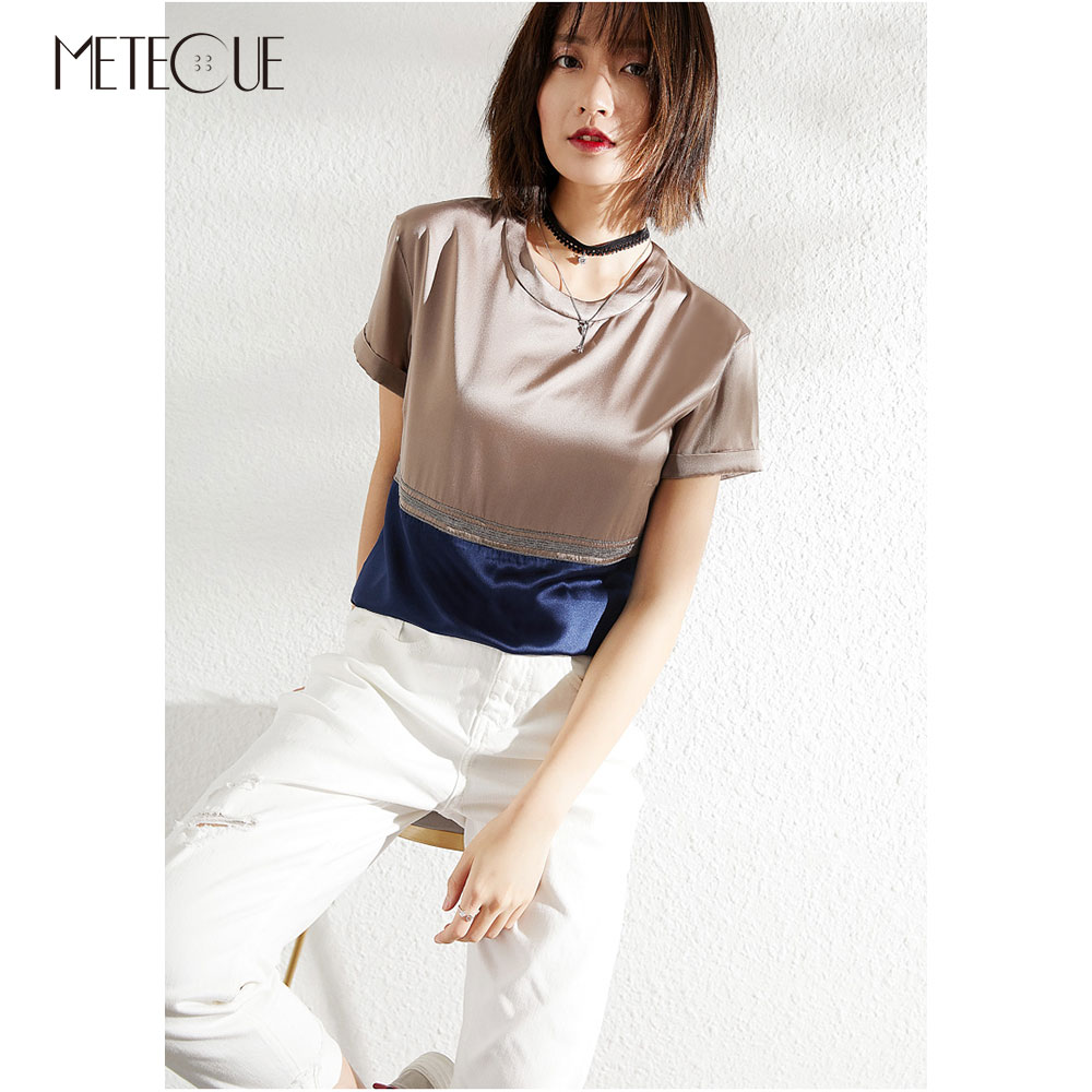 22 Mommie Silk Women Tee Shirt 2019 Spring Summer Fashion Beading Patchwork Short Sleeve Women Tops