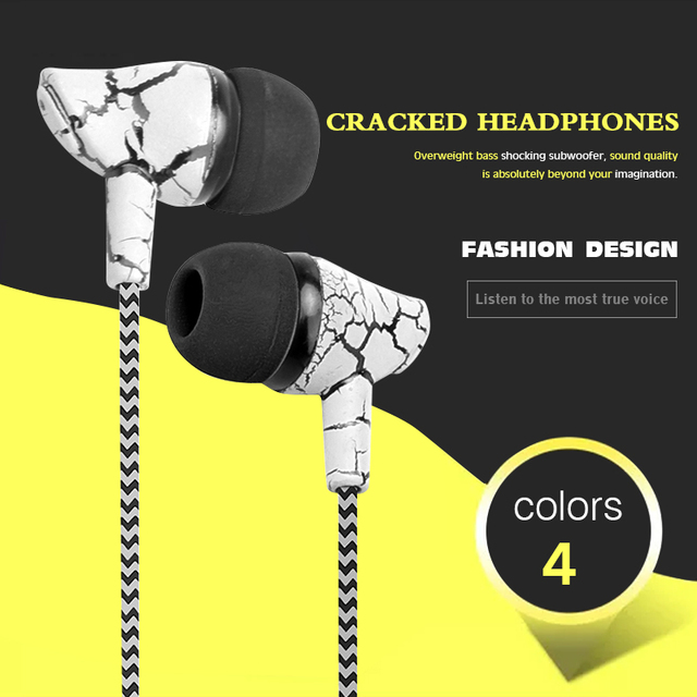 Crack Braided HeadsetS Wired Headphone with Microphone 3.5mm Wired Control Super Bass Universal for Android iPhone Xiaomi Audio Audio Electronics Electronics Head phone Headphones & Headsets color: Blue|Green|red|YELLOW|White