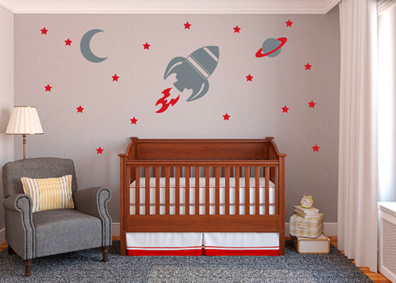 Aliexpress.com : Buy Rocket Wall Decal Baby Boy Nursery Wall Sticker Space  Ship And Stars Wall Decals, Boy Bedroom Wall Art Decor Baby Grow Paradise  From ... Part 61