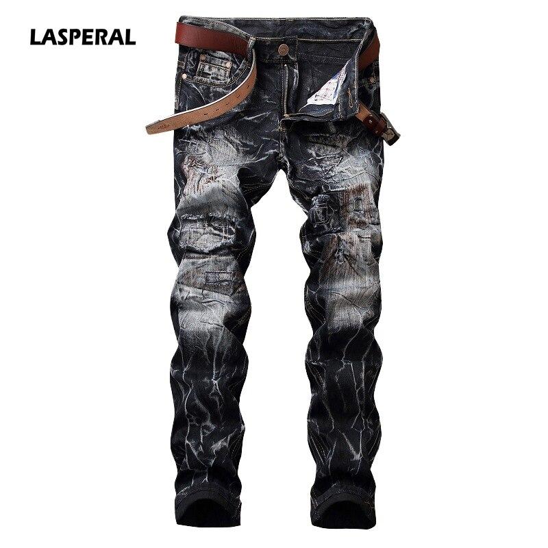 LASPERAL 2017 Fashion Men's Jeans Biker Jeans Hiphop Punk Print Straight Pantalon High Quality Slim Fit Nightclub Trousers Jeans