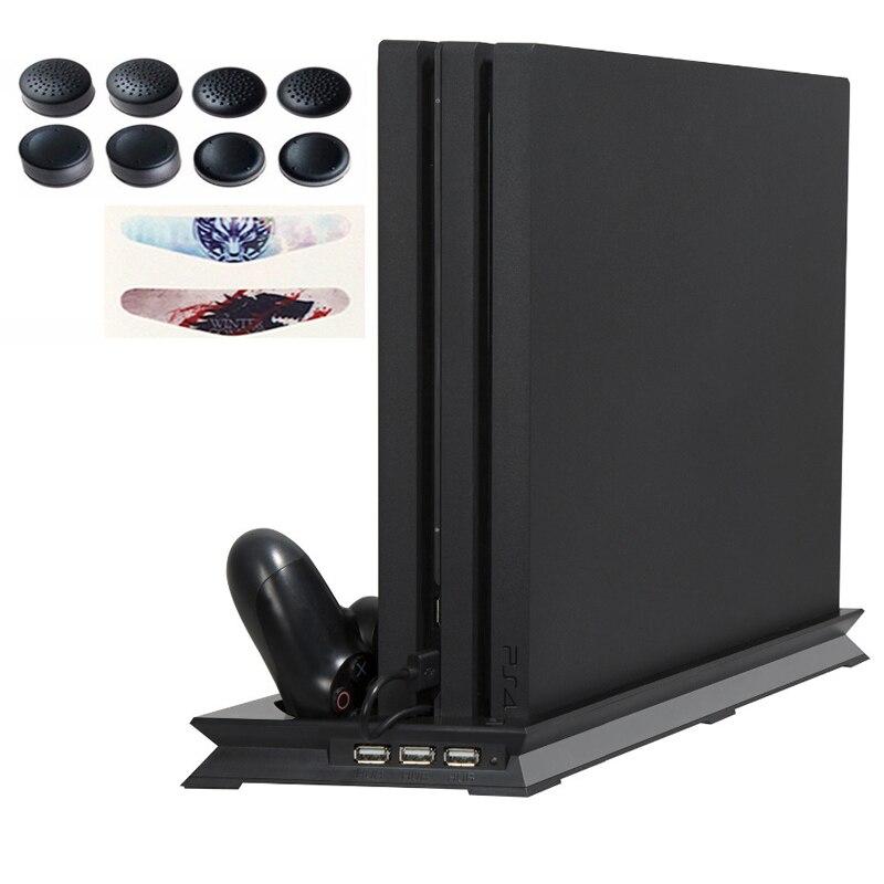 PS4 PRO Ultra-Mince De Charge Dissipateur de Chaleur De Refroidissement Du Ventilateur Vertical Les Contrôleurs double Charging Dock USB 3 Hub pour Playstation 4 Pro