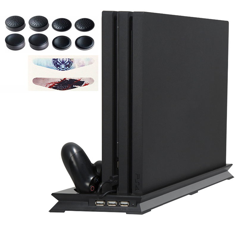 PS4 PRO Ultrathin Charging Heat Sink Cooling Fan Vertical Stand Dual Controllers Charging Dock USB 3 Hub for Playstation 4 Pro