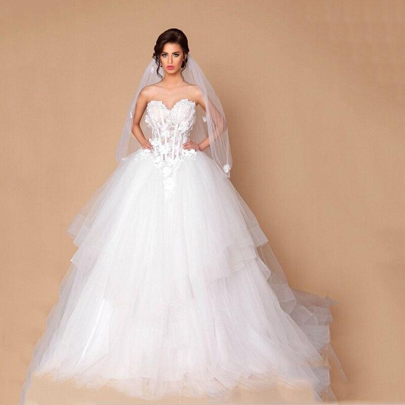Low Waist Wedding Gowns: Generous Sweetheart Appliqued Sheer Corest Flower Low