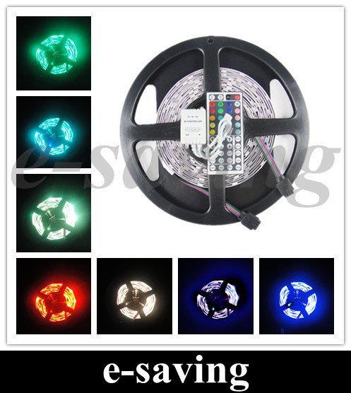 5050 150 5M RGB LED Strip SMD 30led/m indoor non-waterproof + 44key IR remote & controller ribbon