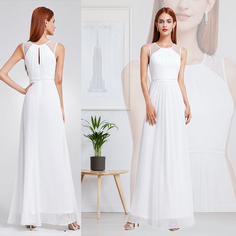 Ever Pretty Women's Elegant Long Maxi Chiffon Sleeveless Lace Plus Size Long Wedding Dresses Bridal Gown for Women EP08742