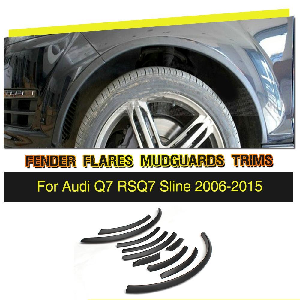PU черный колесо арки Ферри брови автомобилей Арка колеса веки арок полосы Планки для Audi Q7 RSQ7 Sline 2006 2015