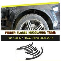 PU Black Wheel Arch Ferry Eyebrows Car Arch Wheel Eyelids Fender Flares Strip Trims For Audi Q7 RSQ7 Sline 2006 2015