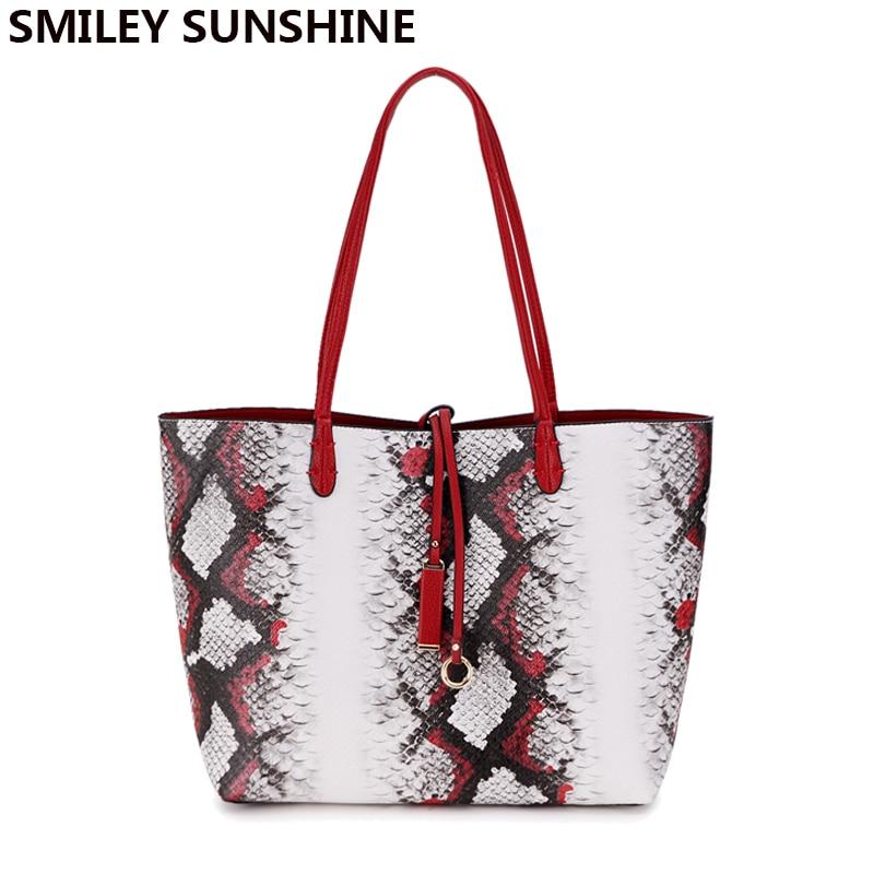56c38702671 SMILEY SUNSHINE serpentine composite women bag handbag big women shoulder  bags female snake tote large ladies
