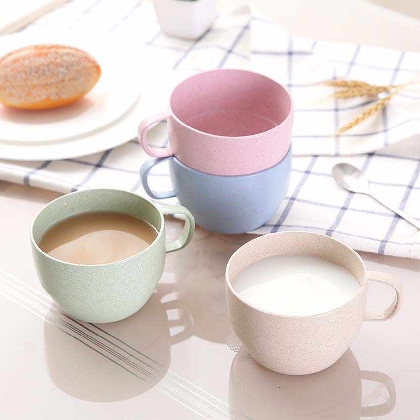 4Pcs 250ml Children Coffee Tea Cup Wheat Straw Round Plastic Tumblers Cup Mugs Water Bottle Kettle Milk Cup