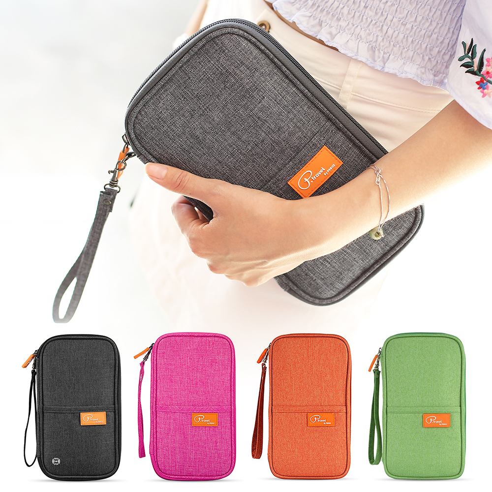 Travel Wallet RFID Blocking Passport Holder Family Passport Holder With Zipper Women Men Outdoor Portable Coin Purse Bag