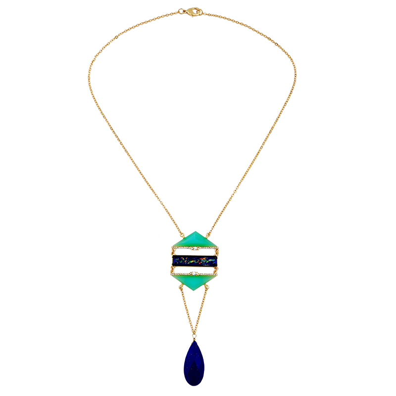 Trendy Geometric Necklace Pendant Jewelry Synthetic Stone Noble Blue Waterdrop Necklace Female 2016