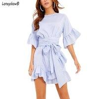 Striped Summer Blue Shirt Dress Half Sleeve Beach Belt Flare Sundress Elegant Ruffles Women 2018 Vintage