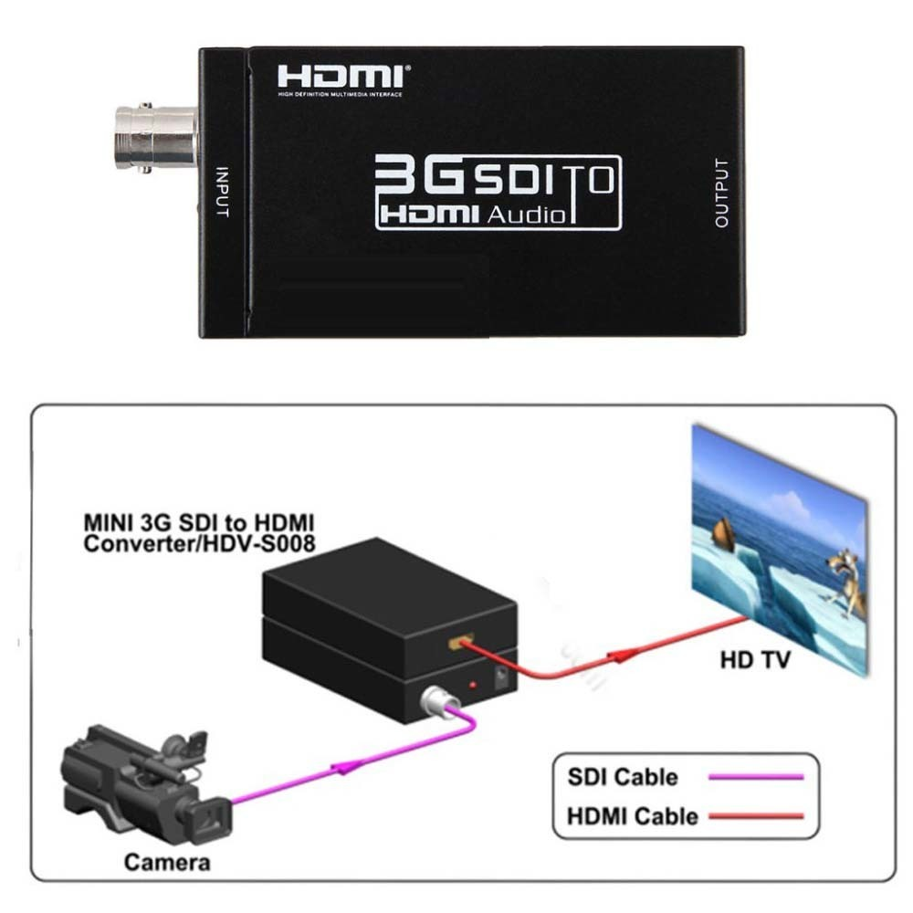 Portable Mini 3G 1080P BNC SDI to HDMI Video Converter Adapter Support SD / HD SDI / 3G SDI Signals Multimedia Analog To Digital