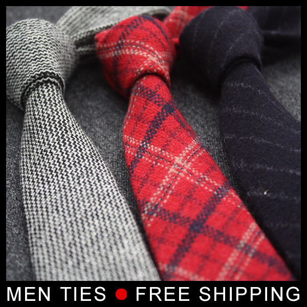 Men 5cm Wide Narrow Skinny Ties Thick Woolen Vintage Ties Formal Necktie Match All  Business Casual