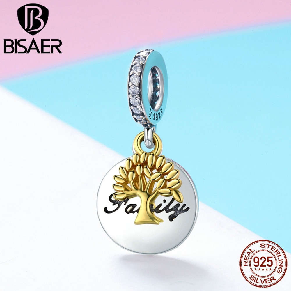 BISAER Silver Pendant Lush Tree With Word Family Pattern Charms fit Original Jewelry Women Beads for Bracelets & Bangle HSC816