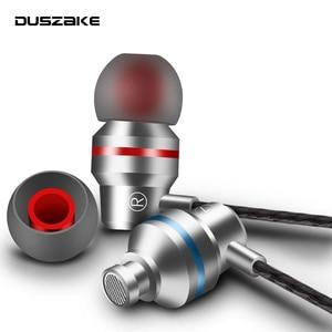 Image 1 - DUSZAKE In Ear Headphones For Xiaomi Earphone For Phone Stereo Bass Headset Metal Wired Earphone HiFi Headphones Mic for Samsung