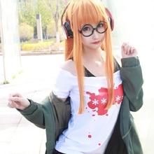 Disfraz de Cosplay de personaje 5, Futaba Sakura, chaqueta, camiseta, pantalones cortos, cinturón, medias y gafas