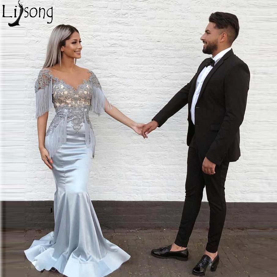 Silver 2019 New Mermaid   Prom     Dresses   Sheer Neck Satin Lace Applique Floor Length Formal   Dress   Tassel Long Evening Party Wear