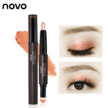 2 IN 1 waterproof eyeshadow glitter stick eye shadow pencil with a soft applicator by NOVO brand makeup