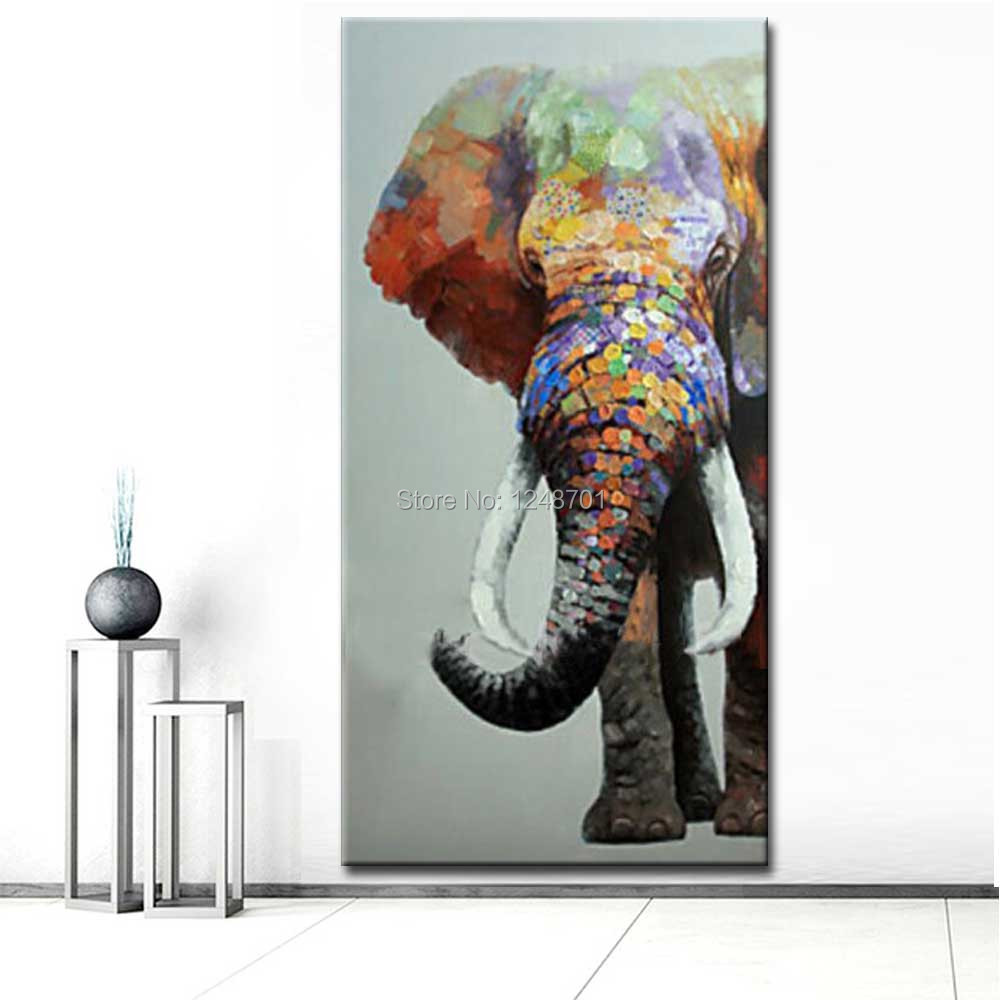 Large Size Hand Painted Abstract Elephant Oil Painting On Canvas Colorful Elephant Wall Pictures Living Room Entrance Wall Decor Funny Stuff For Sale