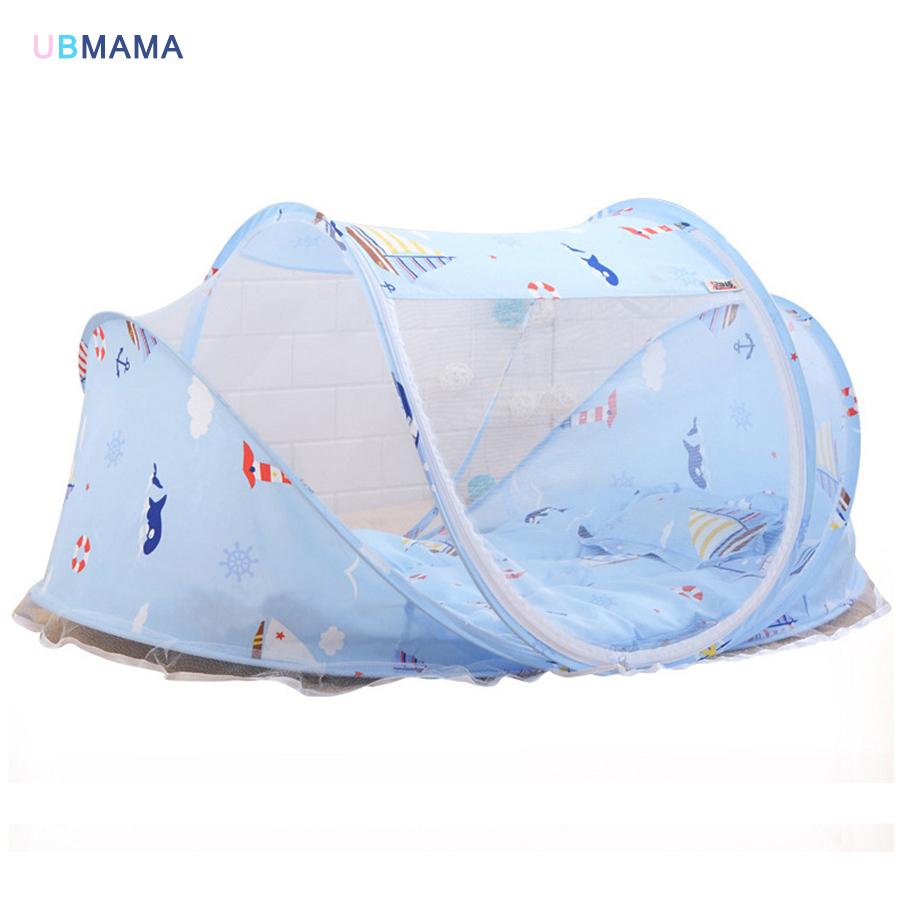 Blue Sailboat Pattern Baby Bed With Mosquito Net Portable Baby Bed  Cotton Folding Bed With Children Bed Cover