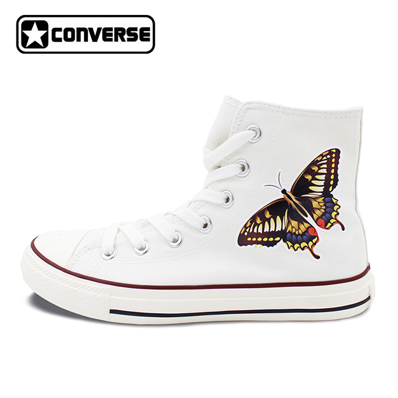 White Converse Chuck Taylor Skateboarding Shoes Original Design Butterfly Canvas Sneakers High Top Flats Brand All Star boys girls converse all star hand painted shoes women men shoes pokemon go charizard design high top canvas sneakers