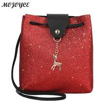 Women Shining Leather Messenger Bag PU Leather Soft Handbag Mini Bucket Clutch Crossbody Shoulder Bag 19 X 18 X 7cm 5 Colors(China)
