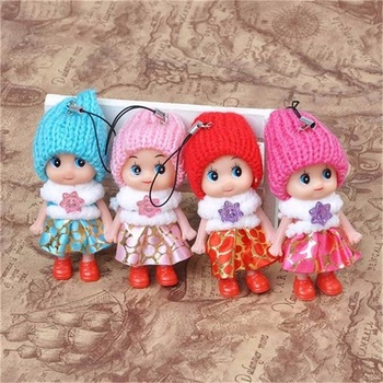 10pcs 8cm Kids Toys Soft Interactive Baby Confused Dolls Toy Keychain For girls and boys Small pendant Christmas gift for kid