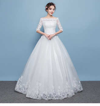 2019 New Arrival Half Sleeve Wedding Dress Lace Boat Neck Sweep/ Brush Train Lace Up Ball Gown Princess Vintage Bride Dress