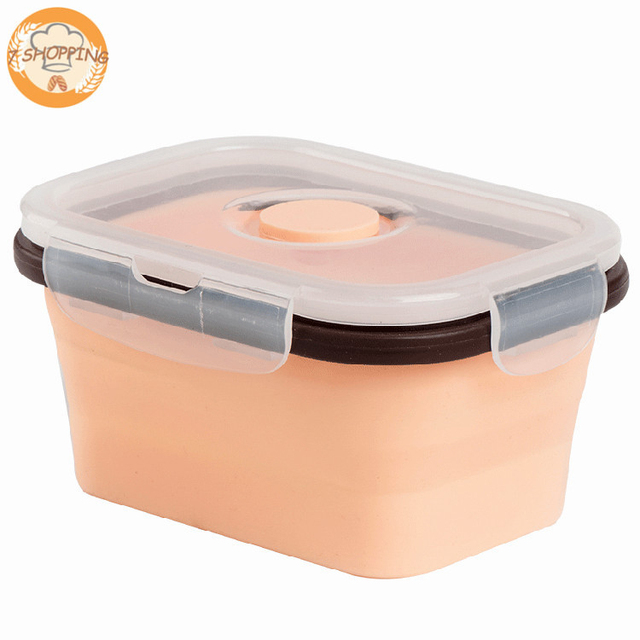 4 Pack Food Storage Containers Silicone Collapsible Lunch Box Oven Safe, BPA Free, Snap On Lid Airtight Food Storage Containers