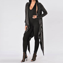 Women Casual Loose Cardigan 2016 Autumn Ladies Long Sleeve Back Hole Hollow Out Solid Long Outwear Irregular Hem Jacket Coats