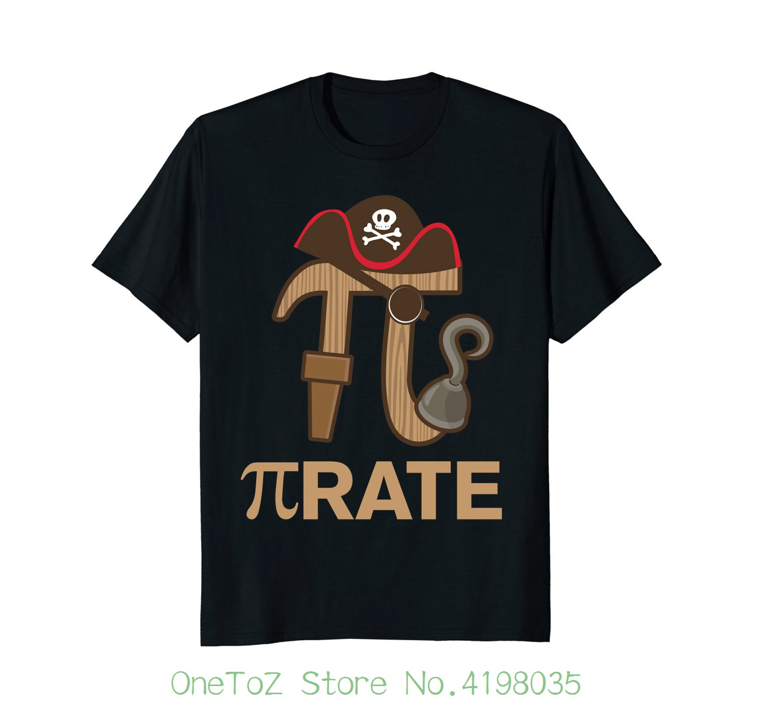 Pirate - Funny Math Geek 3.14 Hat Hook Pi Day Pun T-shirt 100% Cotton Letter Printed T-shirts