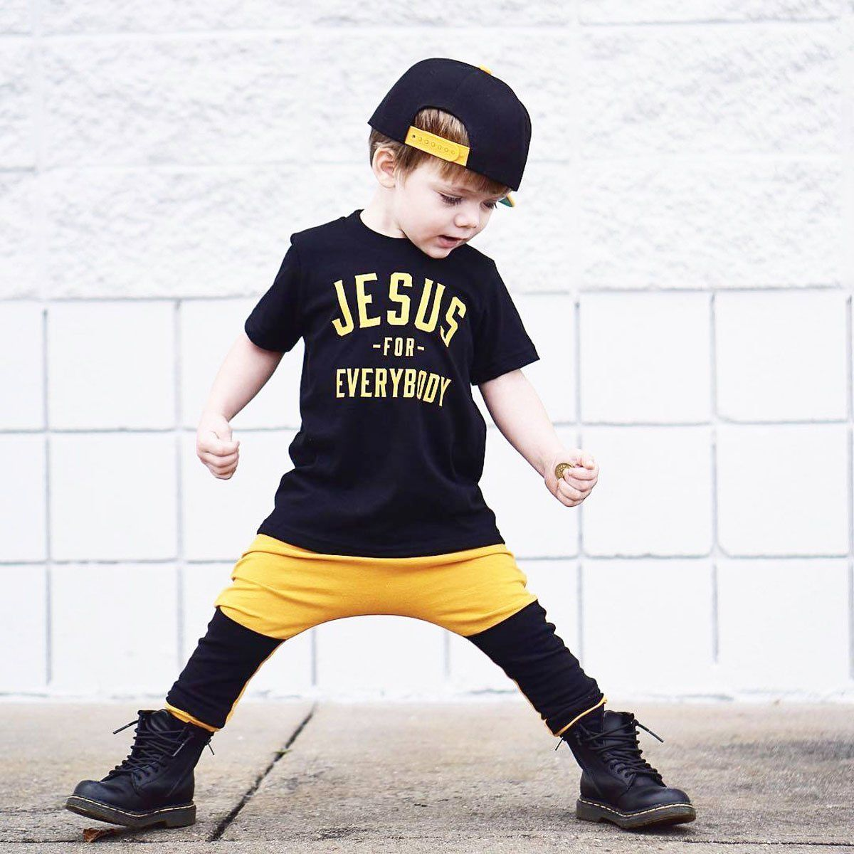 2PCS Newborn Toddler Infant Baby Kids Boy Clothes Short Sleeve Jesus T Shirt Pants Dance Hip Hop Summer Set Outfits Suit 1T~6T 2017 baby boys clothing set gentleman boy clothes toddler summer casual children infant t shirt pants 2pcs boy suit kids clothes