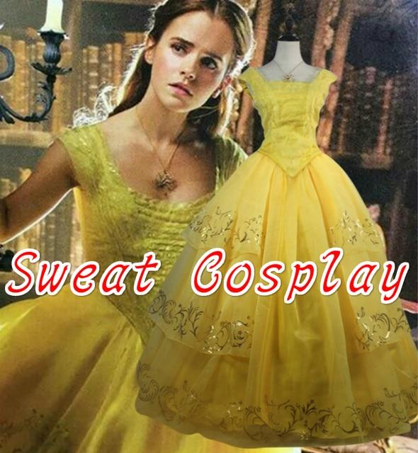 8a38c1695ca High Quality Princess Belle Dress Belle long dress evening Wedding Dress  2017 Beauty and The Beast Princess Belle costume adult