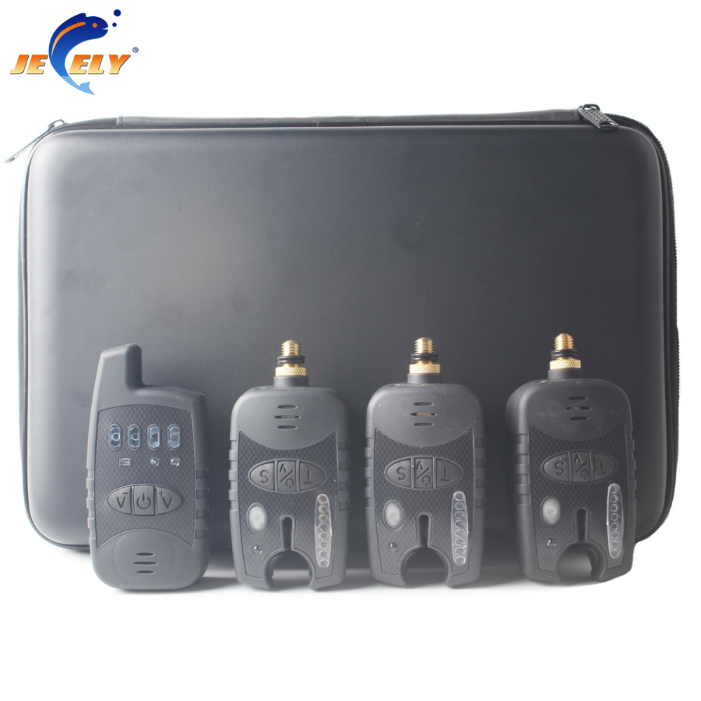 ФОТО Free shipping 8 leds line wireless carp bite alarm JY-37(1 receiver + 3 alarms) for fishing swinger