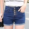 Shorts de Cintura alta Mulheres Shorts Jeans Verão das Mulheres Shorts Jeans 2016 Hot Plus Size Mulheres Coreano Estilo Curto Feminino verão