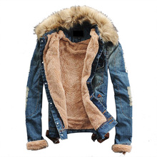 Men Denim Jacket Coat Men Outwear Fur Collar Wool Denim Jacket Thick Warm  Clothes  Plus Size S-4XL  Jackets Men's Clothing