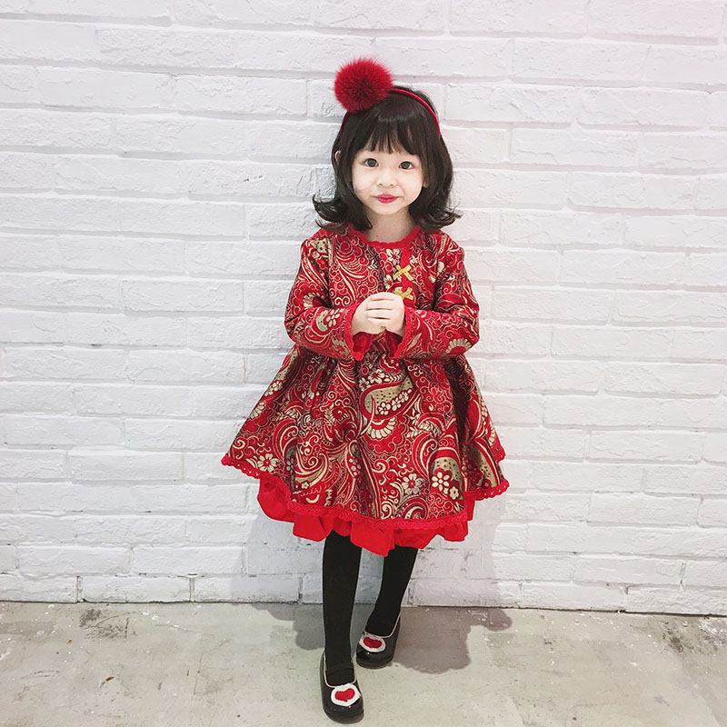 Kids Chinese Style Dress For Girl Child Thick Warm New Year Dress Winter Autumn 5 6 years Wedding Party Dresses Children Clothes