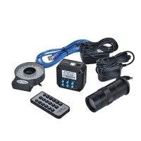 16MP 1080 P @ 60FPS Indústria Camera Saída HDMI USB Digital Microscope Camera + 100X C-montagem Da Lente + 40 diodo emissor de Luz para a Indústria Laboratório PCB