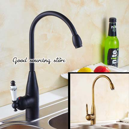 oil rubbed bronze black antique brass kitchen faucet hot and cold water