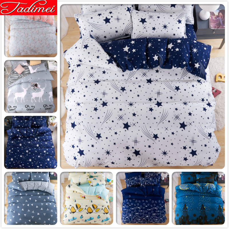 Candid Galaxy Meteor Stream Stars Starry Sky Pattern Blue White 3/4pcs Bedding Set Adult Kid Soft Bed Linen Single Full Queen King Size Relieving Heat And Thirst. Home & Garden