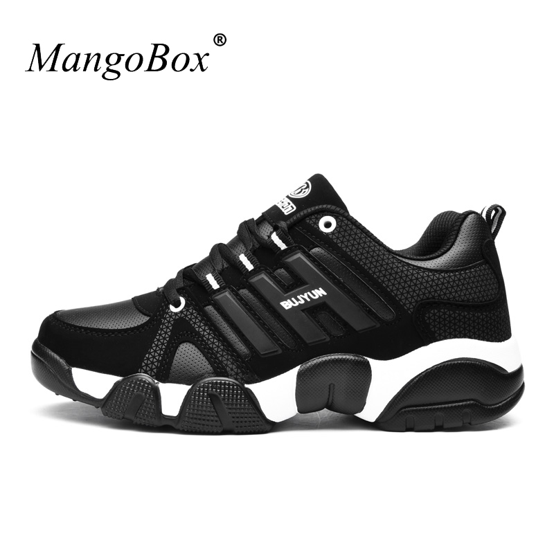 2016 Black Sport Shoes Leather Men Gym Sneakers Anti-Slip Athletic Footwear Red Walking Shoes Autumn/Winter Trail Running Shoes