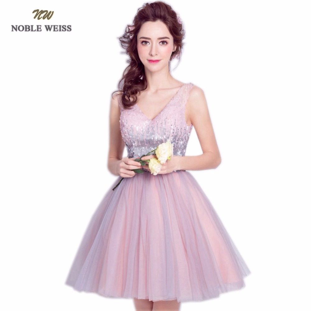NOBLE WEISS Mini Sequined Prom Dress 2019 Customized Fashion A-Line Lace-up Back Tulle V-Neck Party Gown Dresses