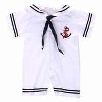 Summer Newborn Infant Baby Boys Girls White Sailor Uniforms Suit Nautical Clothing Kids Romper Jumpsuit One