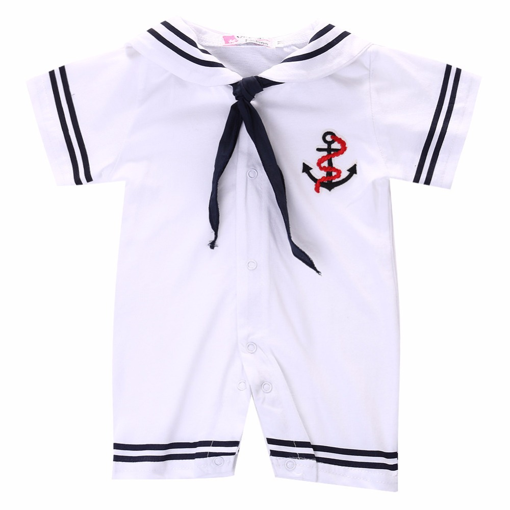 Summer Newborn Infant Baby Boys Girls White Sailor uniforms Suit Nautical Clothing Kids Romper jumpsuit one piece 0-18 M puseky 2017 infant romper baby boys girls jumpsuit newborn bebe clothing hooded toddler baby clothes cute panda romper costumes