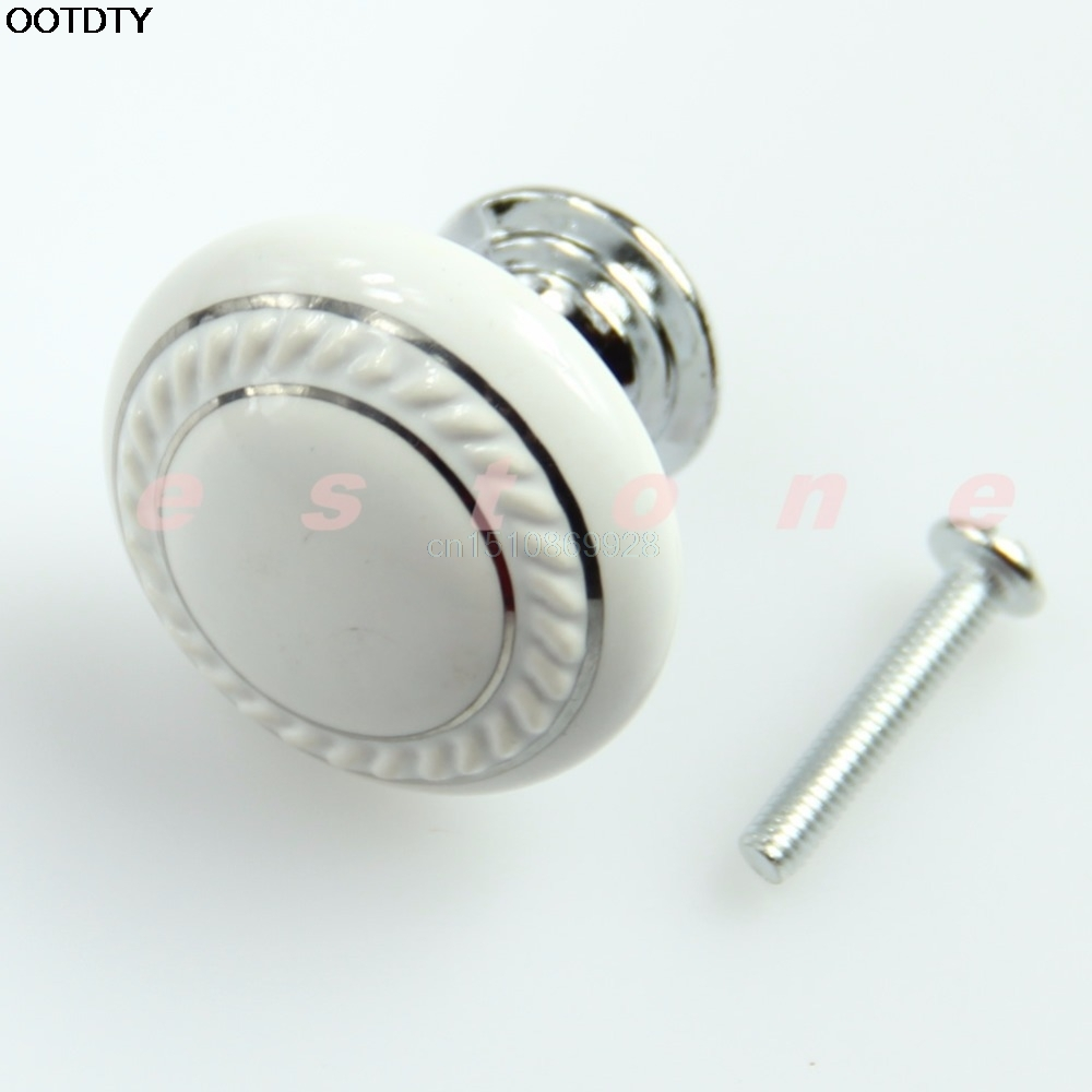 Ceramic Wardrobe Handle Crystal Glass White Door Knob Drawer Cabinet Kitchen Wardrobe Handle